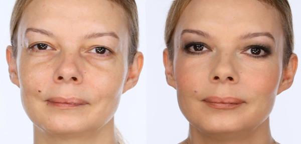 макияж отвлечёт внимание от мешков под глазами