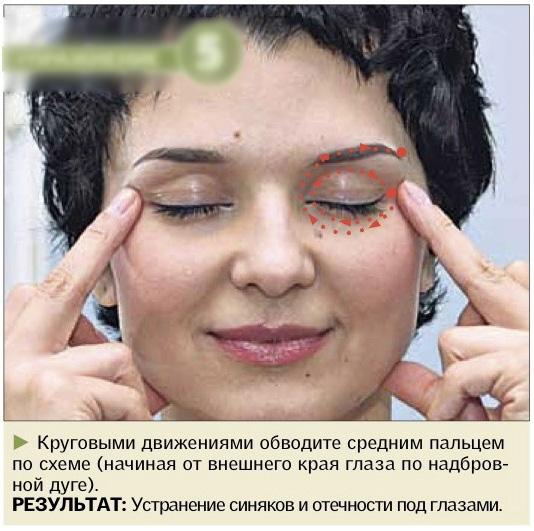 массаж упражнение от отеков глаз