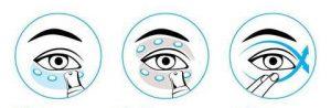 как правильно наносить крем на глаза схема