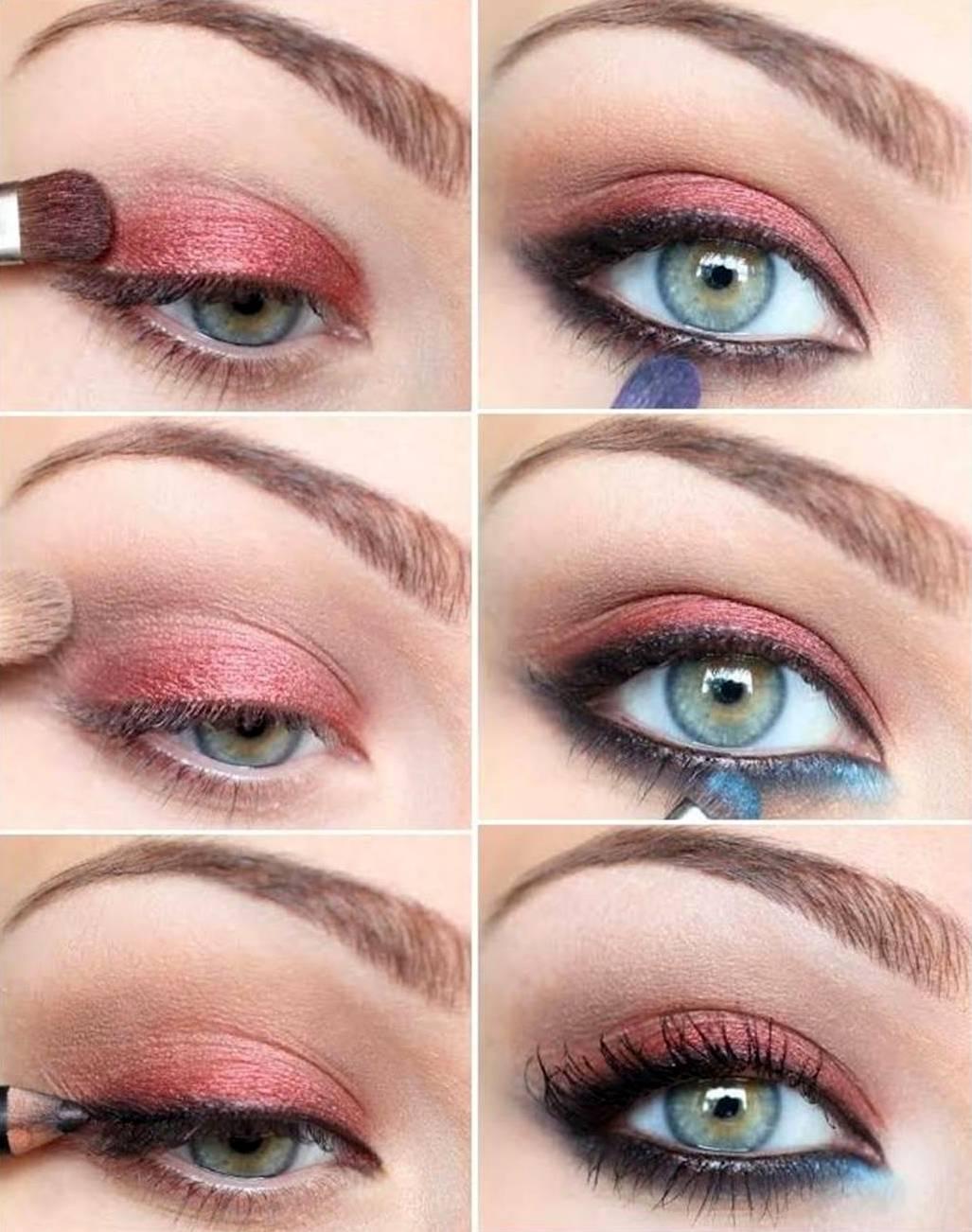 пошагово макияж с красными тенями