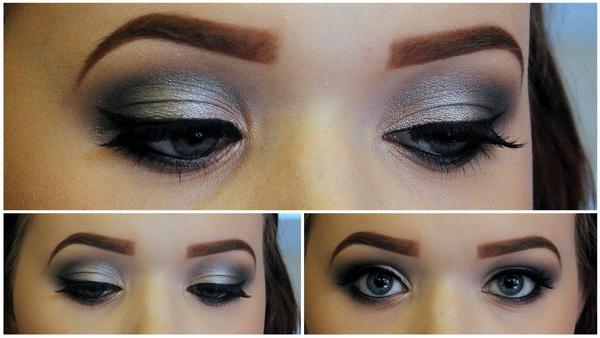 макияж серыми тенями повседневный