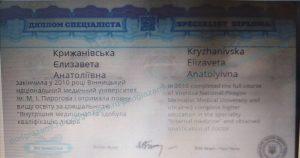 Крижановская Елизавета Анатольевна