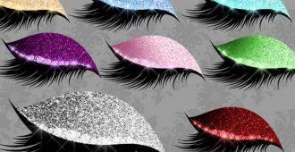 макияж с глиттерами на глазах